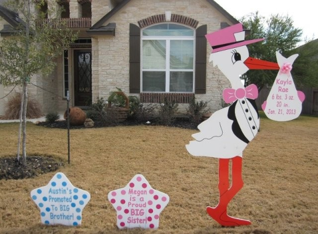 Pink Stork Sign  with Blue & Pink Sibling Stars