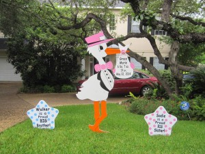 6 ft. Stork Signs - Sibling Signs - Fort Worth